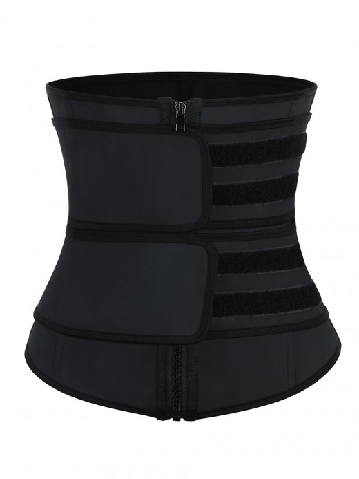 Black Latex Waist Trainer Detachable Double Belts 7 Steel Bones