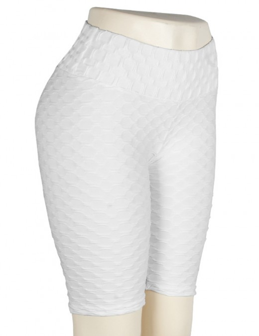 Wonderful White Bike Gym Shorts Jacquard Tight Solid Color