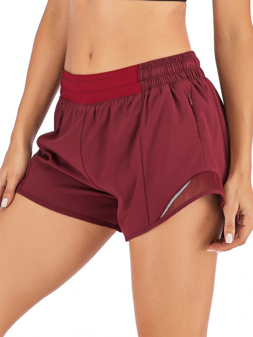 Purplish Red Lining Detail Solid Color Running Shorts Female Elegance