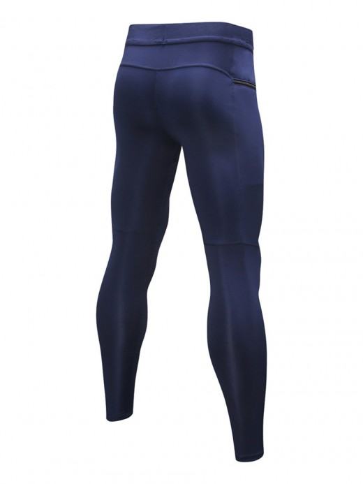 Stretchable Navy Blue High Rise Men's Leggings Ankle Length