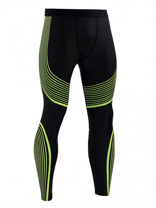 Extreme Yellow Men Stripe Sports Legging Plus Size Elastic Design