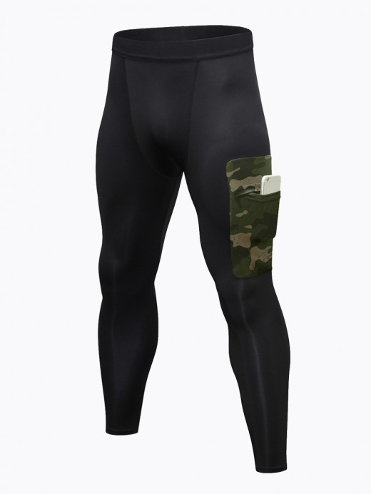 Dainty Army Green Fast Dry Men's Leggings Side Pocket For Streetshots