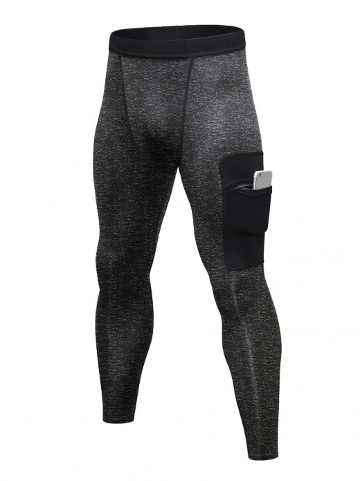 Funny Dark Gray Sports Pants Patchwork High Waist For Runner