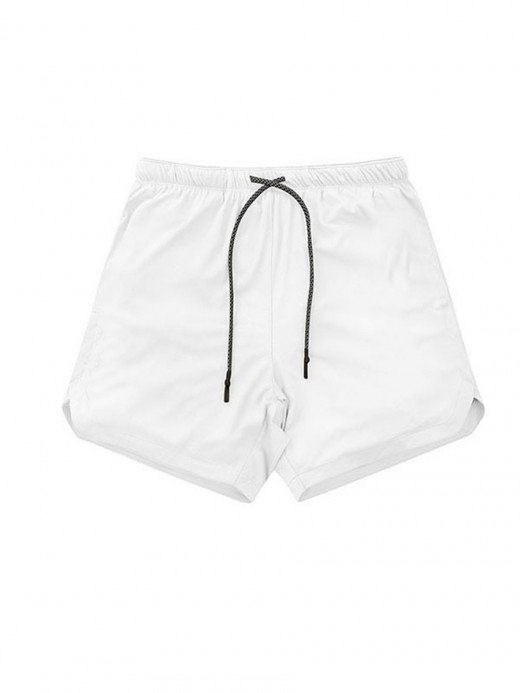 Elasticated White High Waist Men's Sports Bottom Running Apparel