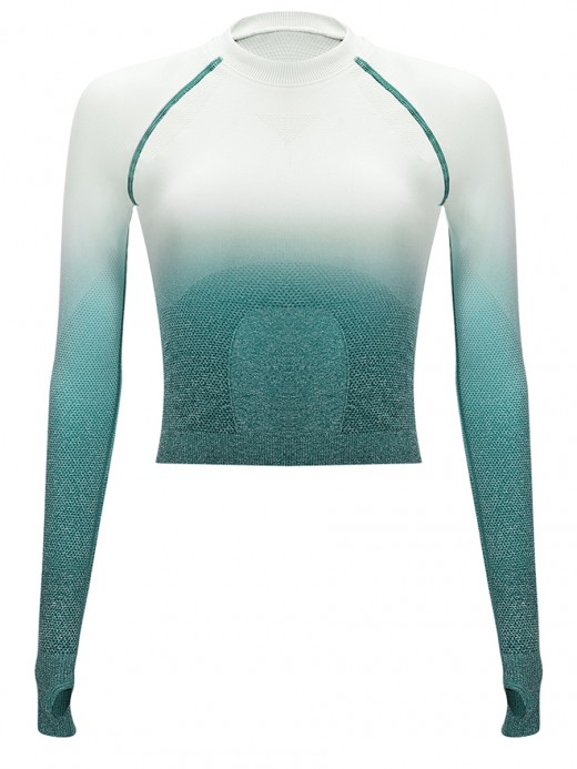 Exercise Green Tie-Dyed Long Sleeve Cropped Top Feminine Fashion