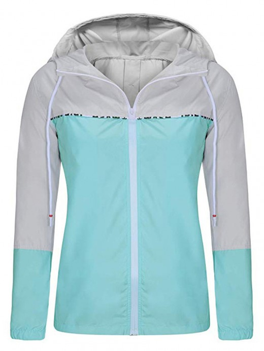 Young Girl Light Blue Active Wear Casual Zipper Hoodie Fashion Forward