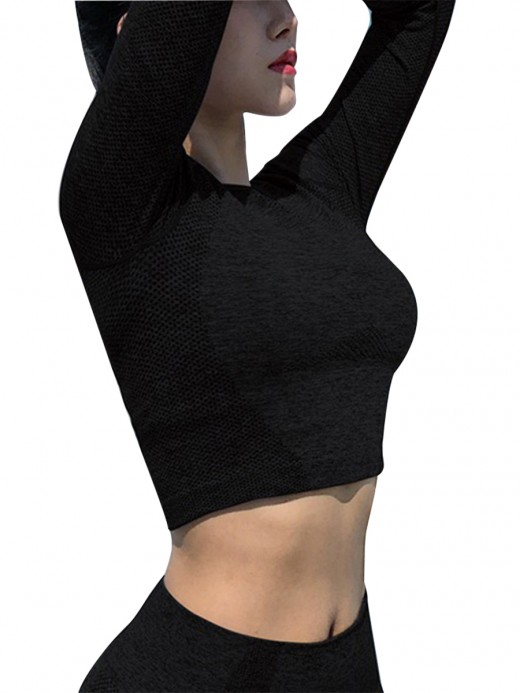 Close-Fitting Black Round Neck Full Sleeve Crop Top Solid