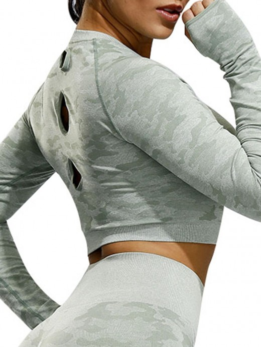 Cheeky Green Hollow Out Athletic Top Long Sleeve For Runner