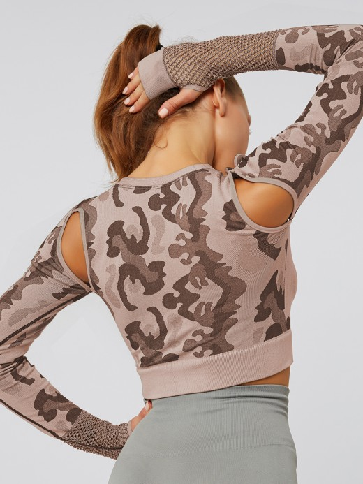 Funny Brown Camouflage Paint Sports Top Round Neck Fashion Ideas