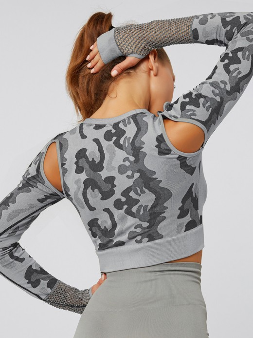 Flattering Gray Hollow Out Athletic Top Long Sleeves Bestie Gift