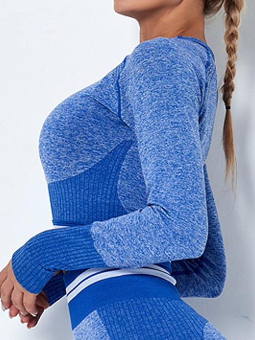 Elastic Blue Athletic Top Crew Neck Long Sleeve For Women