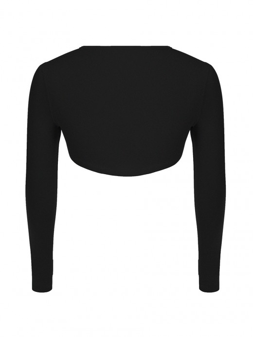 Black Round Collar Long Sleeve Crop Top Running Outfits