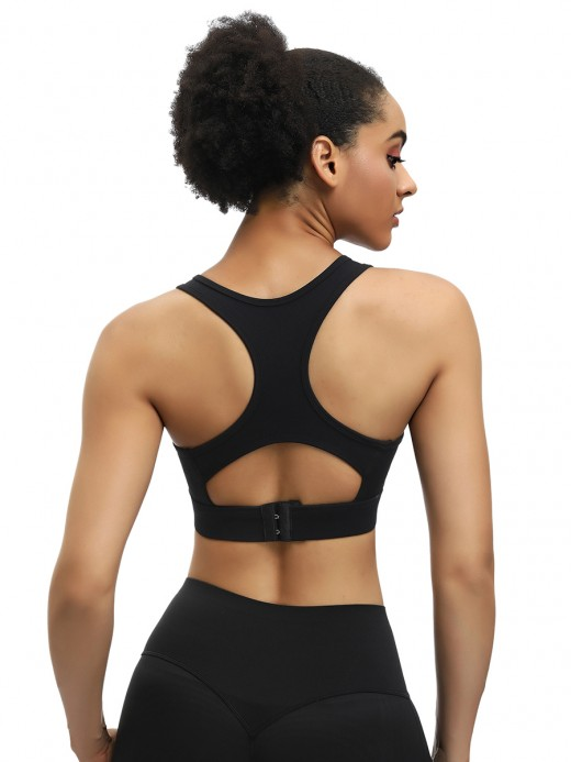 Amazing Black Round Neck Yoga Bra Hollow Out Back Medium Support
