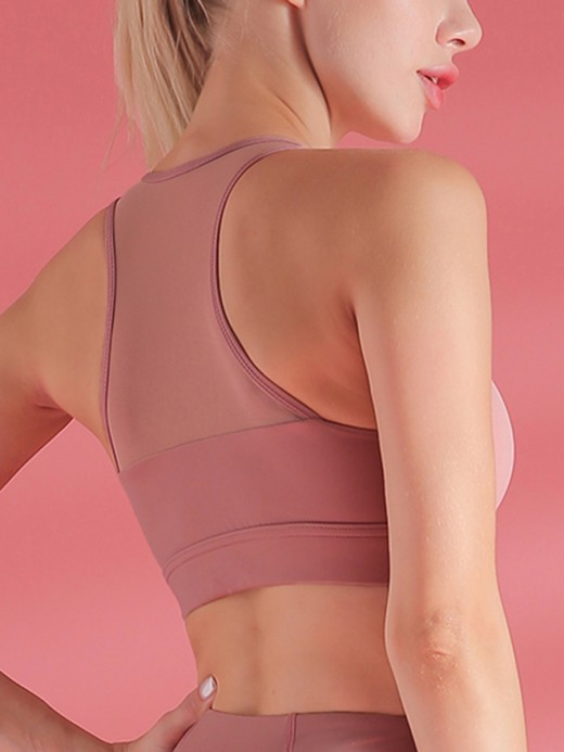 Fitness Light Pink Mesh Patchwork Sports Bra I-Shaped Athletic Comfort