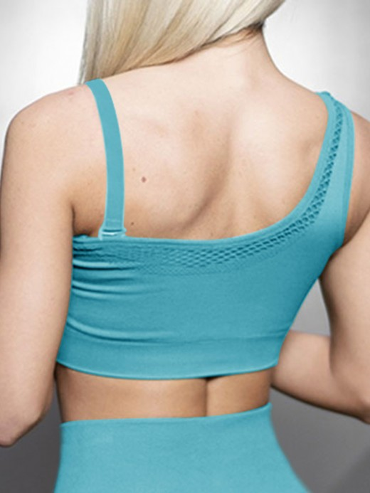 High Elastic Blue Sports Bra Solid Color Detachable Straps