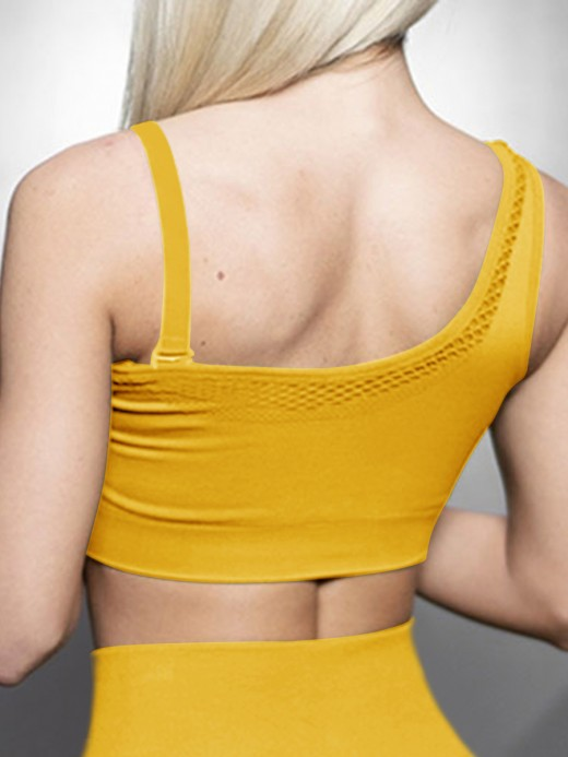 Moving Gold One Shoulder Sports Bra Mesh Seamless Female Charm