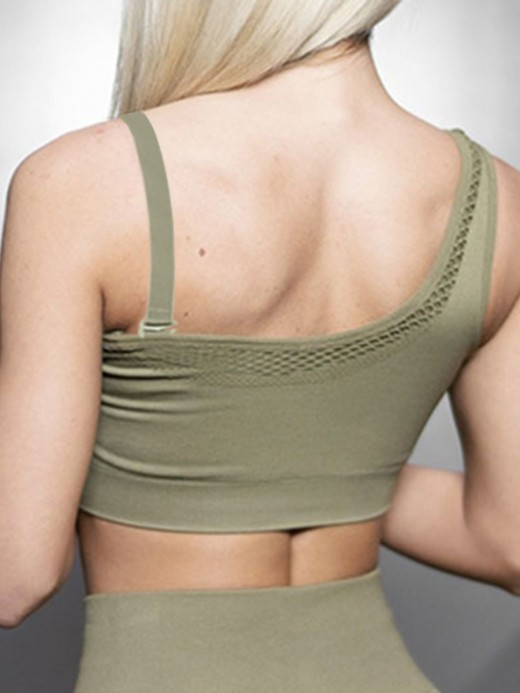 Poolside Army Green Detachable Straps Seamless Yoga Bra Ultra Sexy