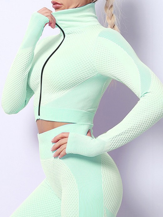 Grass Green Long Sleeves Zipper Sports Two-Piece Outfits Stretchy