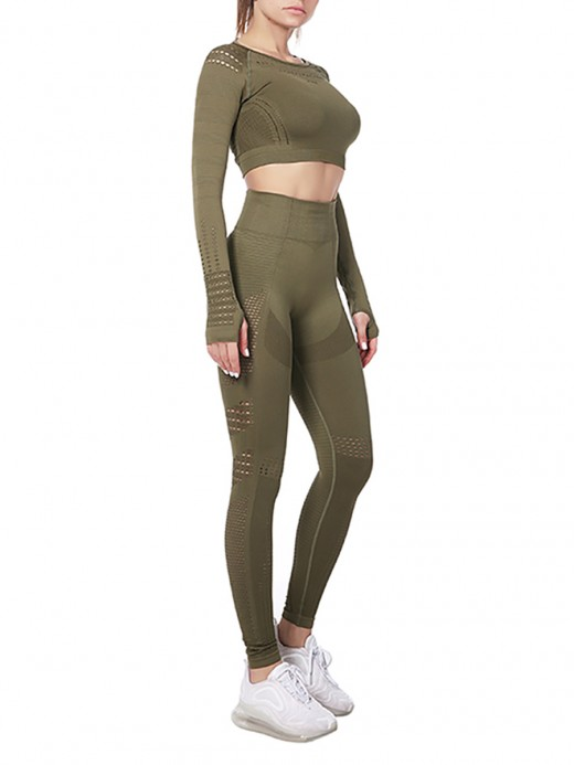 Virtuoso Army Green Hollow Out Sports Suits Full Length Activewear