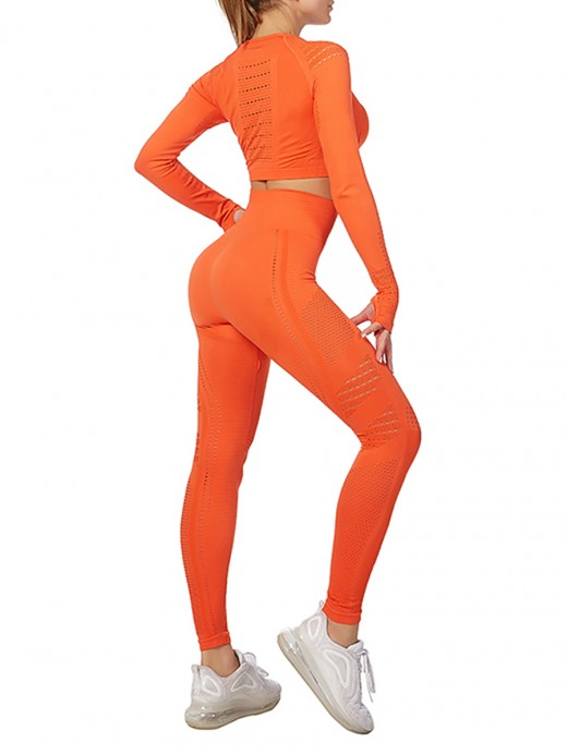 Sculpting Orange Crop Sport Top And Ankle-Length Pants For Runner