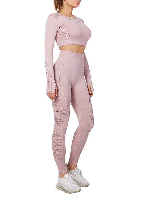 Exercise Pink Long Sleeves Sweat Suits High Waist Good Elasticity