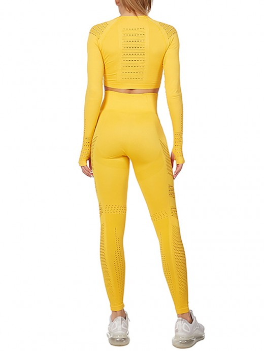 Premium Quality Yellow Round Neck Crop Sport Set Mesh Patchwork Comfort