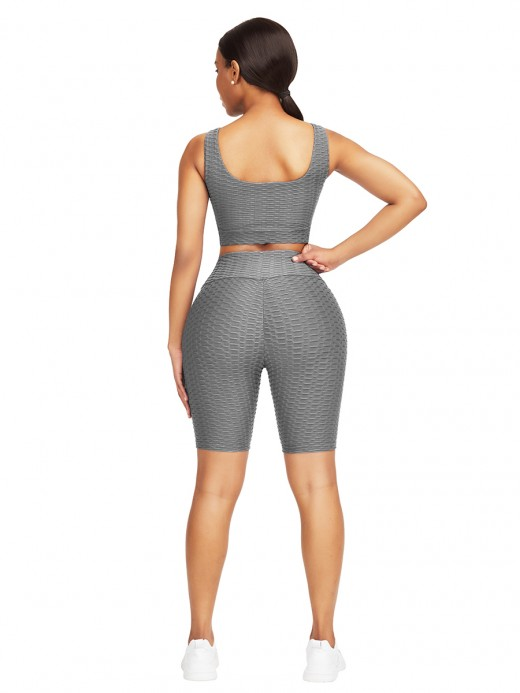 Glorious Gray Jacquard Yoga Top High Waist Shorts High Quality