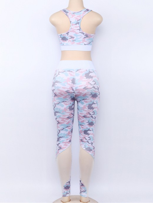 Inspired Pink High Waist Camo Legging And Bra Set Superior Comfort