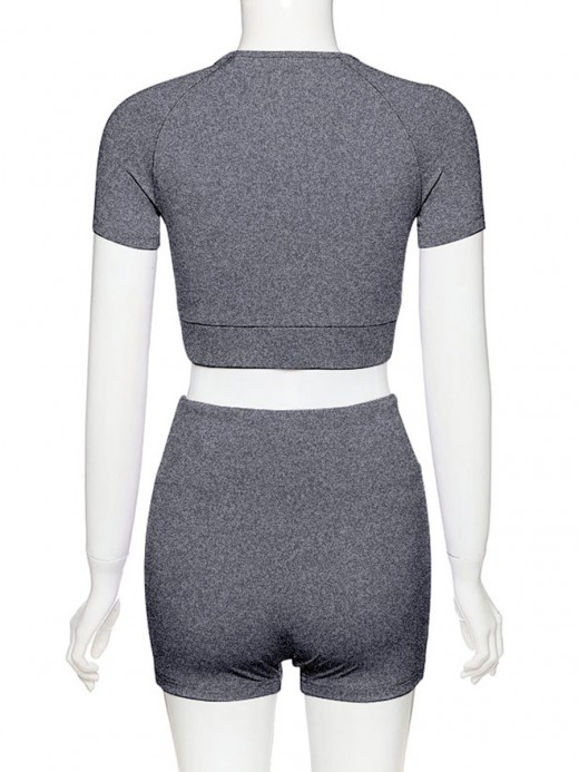 Breathable Gray High Waist Crop Top And Yoga Shorts For Workout