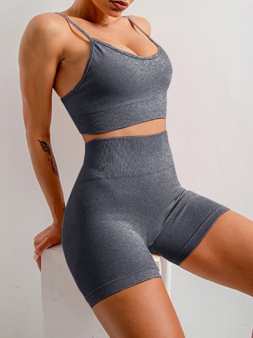 Young Lady Gray Adjustable Strap Crop Yoga Shorts Suit Slim Fit