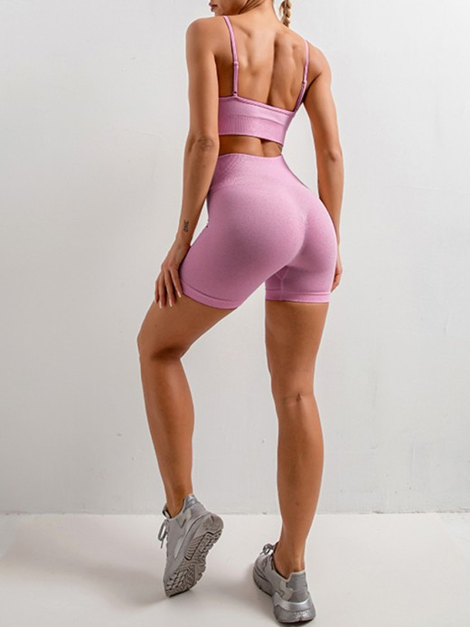 Durable Purple Spaghetti Strap Crop Top Sport Shorts For Fitness