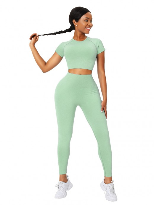 Inviting Green Full-Length Legging Seamless Sweat Suit Leisure