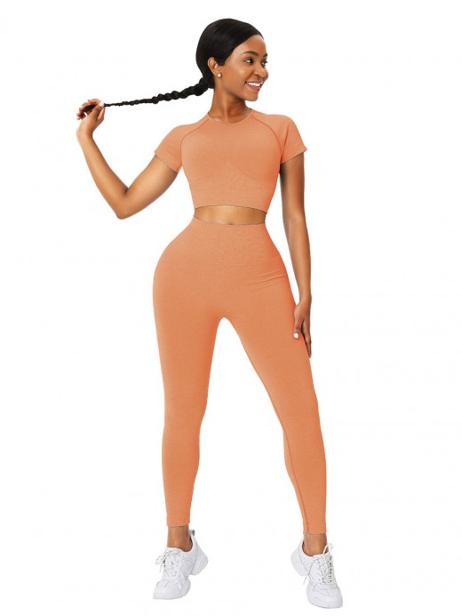 Flirting Orange Seamless Crop Top And High Rise Legging Slim Fit