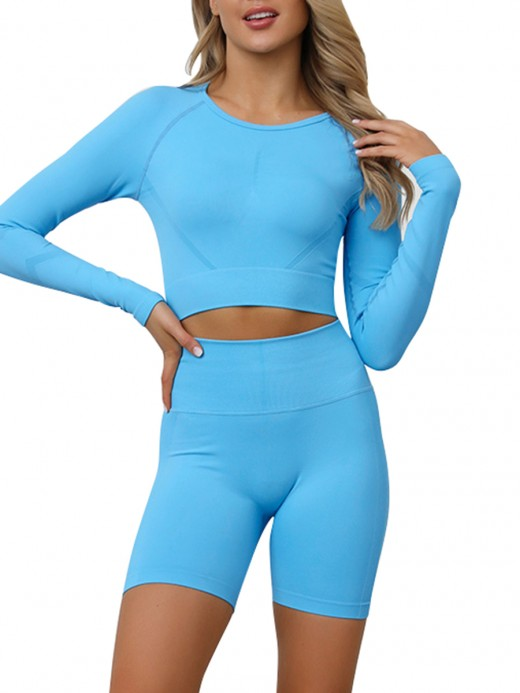 Deluxe Light Blue Seamless Crop Sweat Suit Long Sleeve Eye Catcher