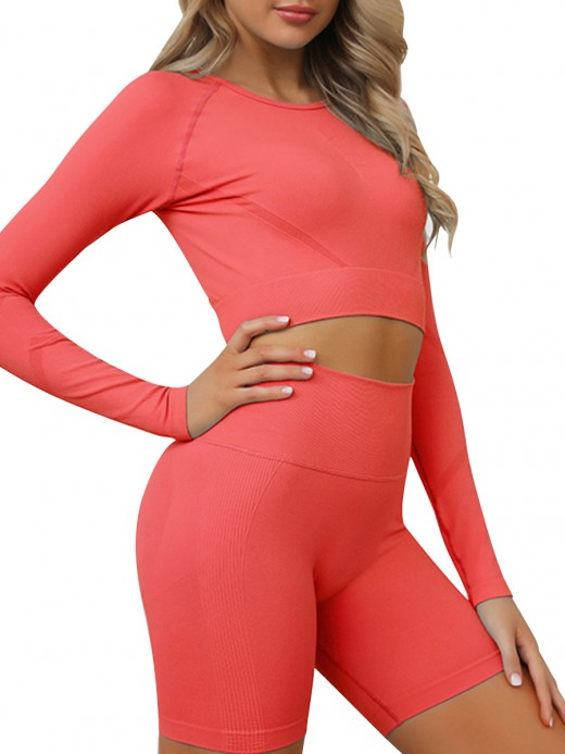 Stretched Red Round Neck Crop Top And Sports Shorts Supper Fashion