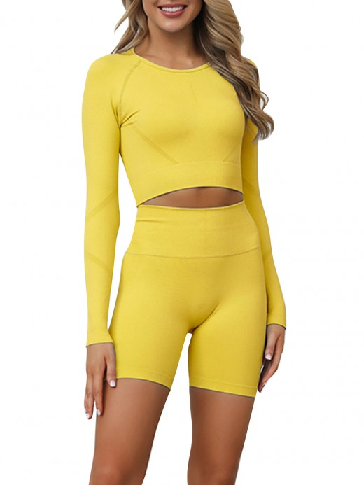 Distinct Yellow Full Sleeves Crop Sports Suit Seamless Elastic