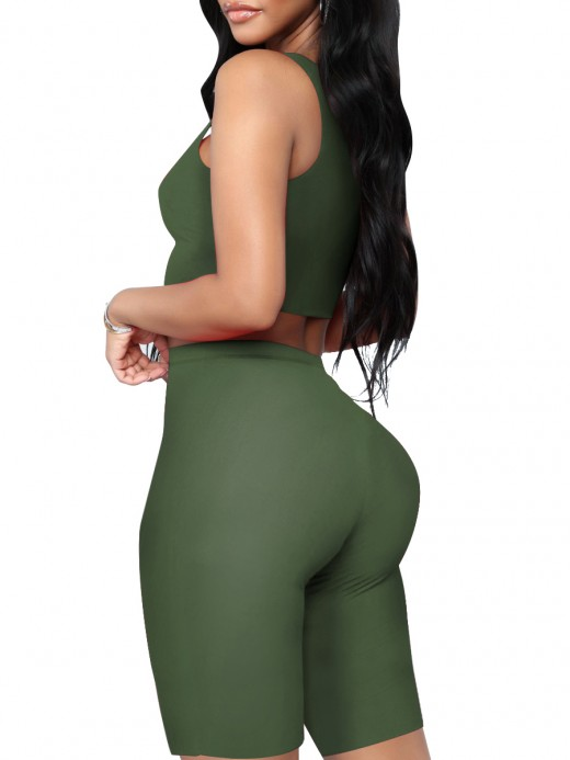 Sexy Ladies Army Green Crop Sleeveless Yoga Suit Scoop Neck