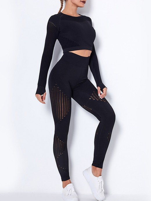 Black Seamless Knit Yoga Suit With Thumb Hole Sensual Silhouette
