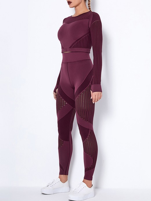 Wine Red Seamless Long Sleeve High Waist Yoga Suit Women's Fashion