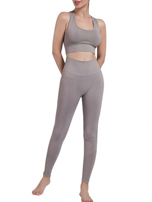 Gray Removable Cup Sports Bra High Rise Legging Elasticity