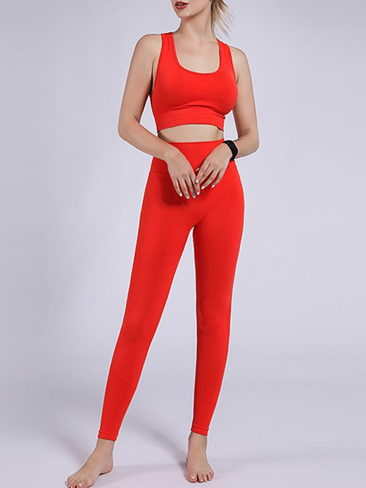 Red Yoga Two-Piece High Waist Removable Cups Weekend Time