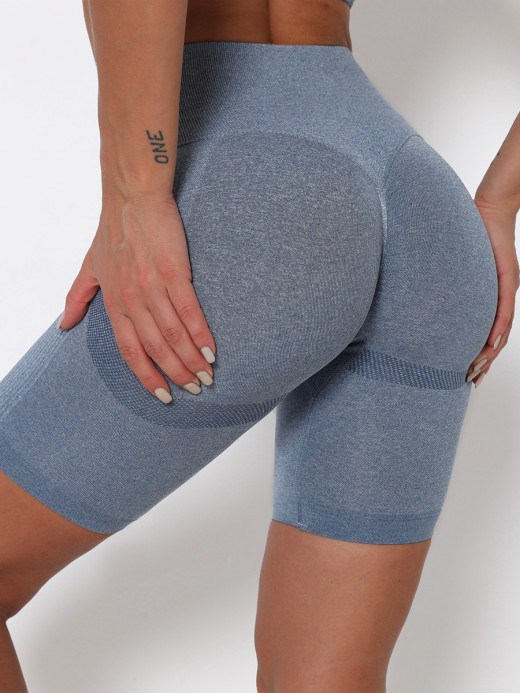 Blue Thigh Length Seamless Yoga Shorts Trend For Women