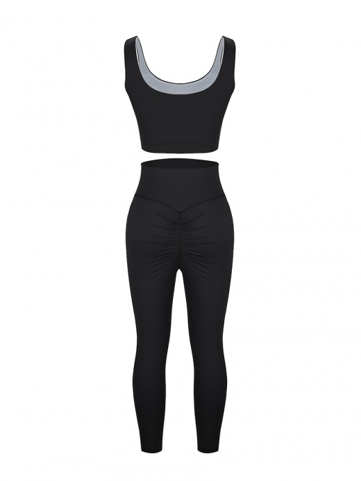 Seamless Black Sports Bra High Waist Leggings Athletic Comfort