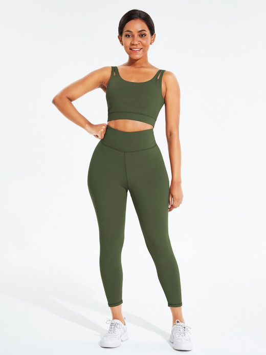 Army Green Hollow Out Full Length Pocket Athletic Suit Comfort