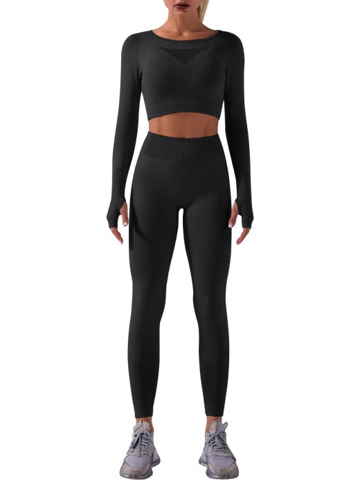 Black Thumbholes Cutout Long Sleeve Yoga Suit Nice Quality
