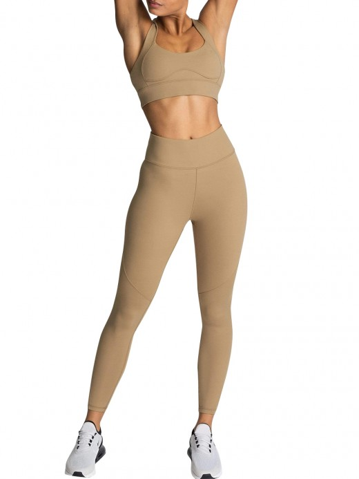 Brown High Waist Full Length Athletic Suit For Workout