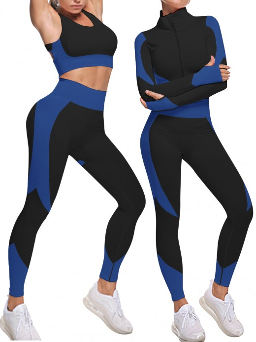 Blue Knit 3 Pieces Sports Suit With Zipper Stretchable
