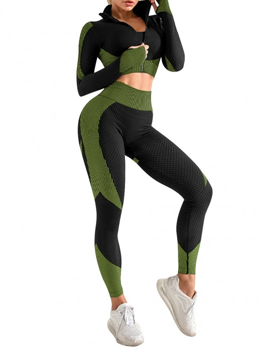 3-Piece Sweat Suit Army Green Seamless Patchwork Elasticity