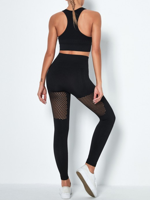 Black Seamless Hollow Out Yoga Suit High Waist Women Fashion