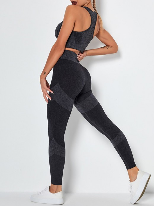 Black Removable Pads Punch Colorblock Yoga Suit Women Outfit